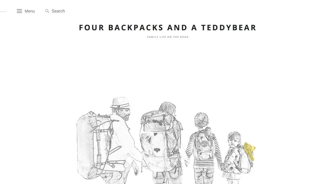 Four backpacks and a teddybear